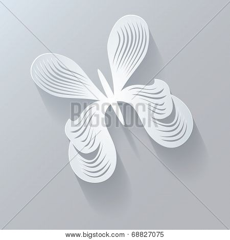 Stylized Design Element. Abstract 3D Geometrical Design. Butterfly.