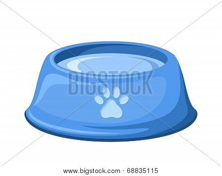 Blue dog bowl with water. Vector illustration.