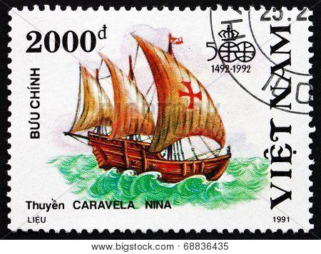 Postage Stamp Vietnam 1991 Nina, Sailing Ship