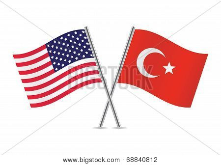 American and Turkey flags.Vector illustration.