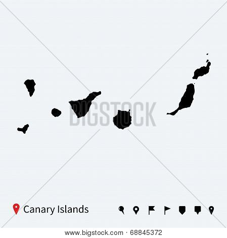 High detailed vector map of Canary Islands with navigation pins.