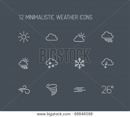 Vector weather thin line icon set isolated