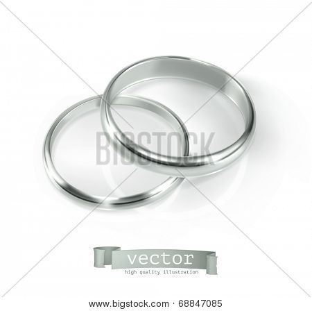 Pair of silver wedding rings, vector illustration