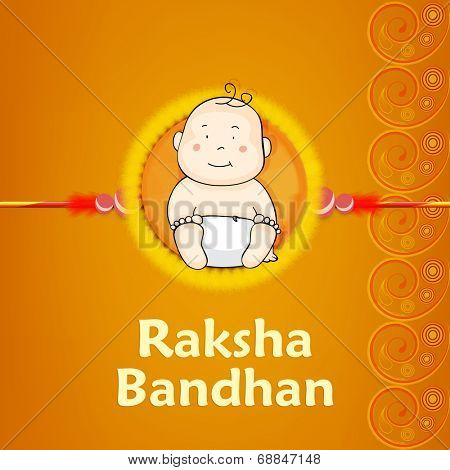 Beautiful rakhi design decorated by a cute little boy illustrations on floral decorated yellow background.