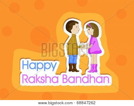 Happy Raksha Bandhan celebrations greeting card design with cute little boy and girl holding their hands on orange background.