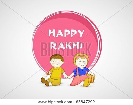 Cute little sister and brother holding hands together on grey background for the occasion of Raksha Bandhan celebrations.