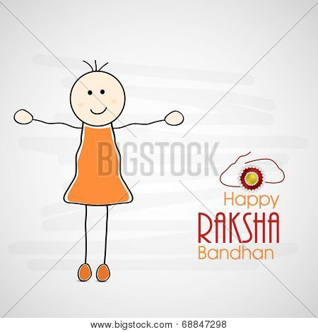 Cute little girl extending her arms, showing happiness on occasion of Raksha Bandhan celebrations.