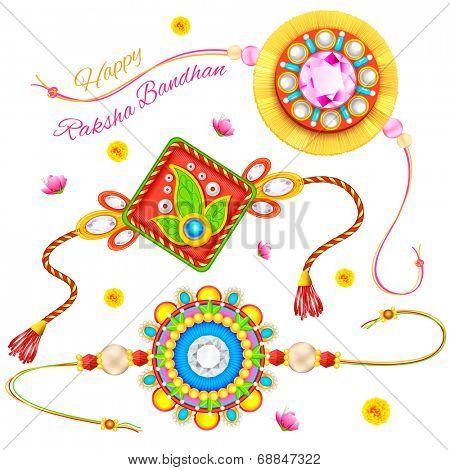 illustration of decorative rakhi for Raksha Bandhan