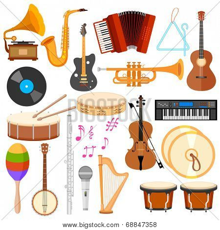 illustration of music instrument in flat style