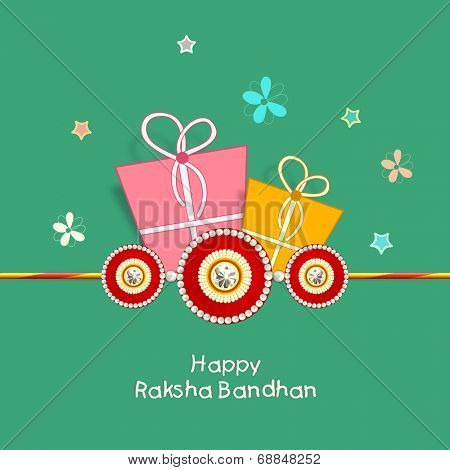 Happy Raksha Bandhan celebration greeting card design with colorful gift boxes, rakhi and colorful butterflies on green background.