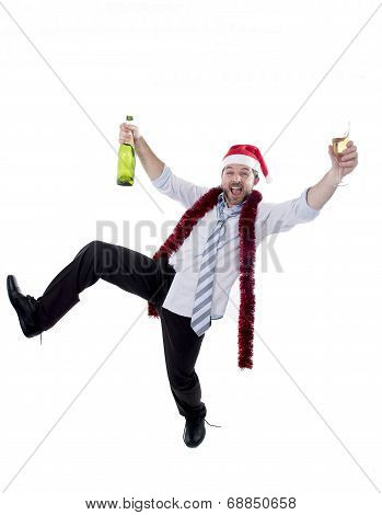 Drunk Businessman Drinking Champagne Wearing A Santa Hat On Whit