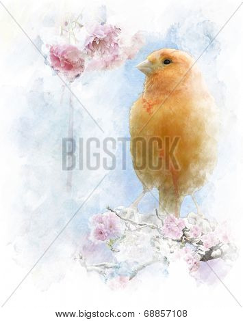 Watercolor Digital Painting Of   Yellow Bird Perching
