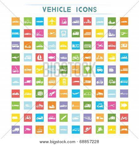 vehicle icons, flat icons