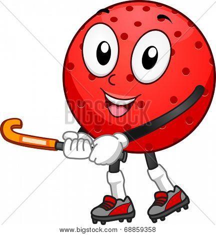 Mascot Illustration Featuring a Field Hockey Ball Holding a Hockey Stick