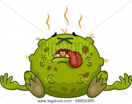 Mascot Illustration Featuring a Dead Germ