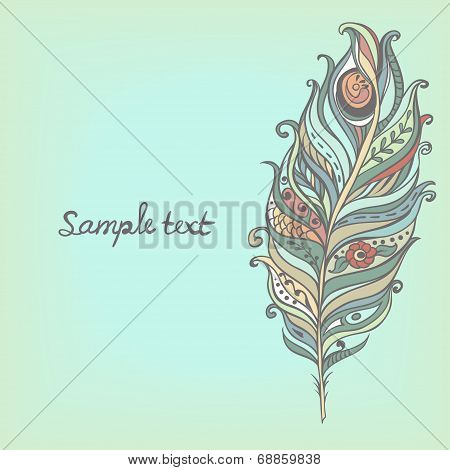 Vector Decorative Vintage Feather. Hand-drawn?