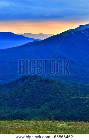 Nice evening landscape in Crimean mountains