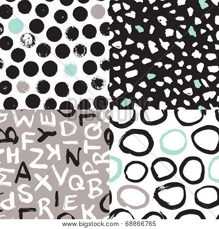 Seamless organic retro basic pastel geometric repeat and abc typography pattern Scandinavian style in vector