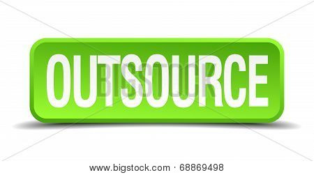 Outsource Green 3D Realistic Square Isolated Button