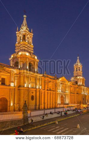 AREQUIPA, PERU, MAY 20, 2014 - Basilica Cathedral on Plaza de Armas by night