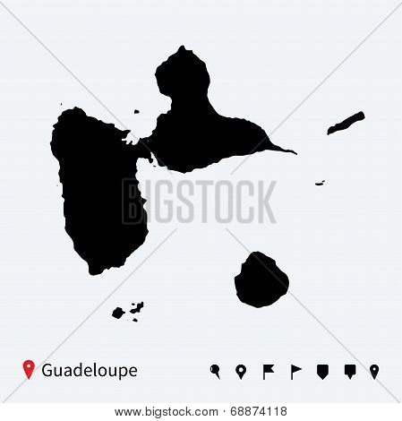 High detailed vector map of Guadeloupe with navigation pins.