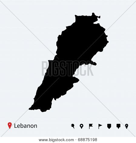 High detailed vector map of Lebanon with navigation pins.