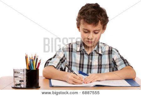Schoolboy Hausaufgaben