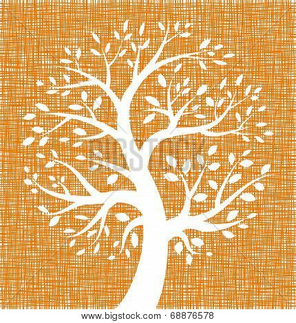 White Tree icon on Orange Canvas texture