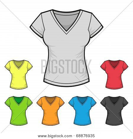 Women's V-neck T-shirt Design Template Color Set. Vector