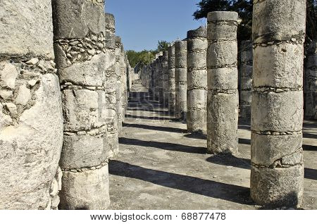 Ancient pillars built by the Mayas