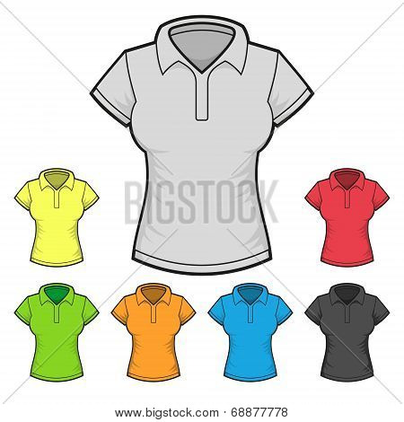 Women's Polo T-shirt Design Template Color Set. Vector