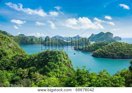 Bird Eye View Of Sea Thailand, Mu Ko Ang Thong Island National Park