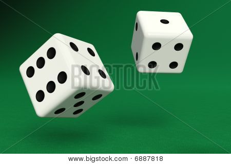 Two Dice On Green Felt With Clipping Path