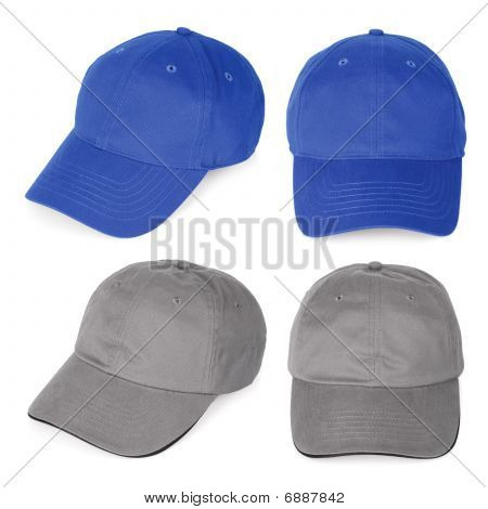 Blank Blue And Gray Baseball Caps