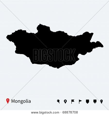 High detailed vector map of Mongolia with navigation pins.