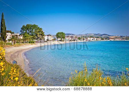 Paralia Fourkas beach on Kassandra peninsula, Halkidiki,  Greece.