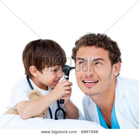 Smiling Little Boy Playing With The Doctor