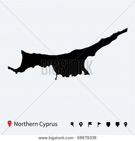 High detailed vector map of Northern Cyprus with pins.