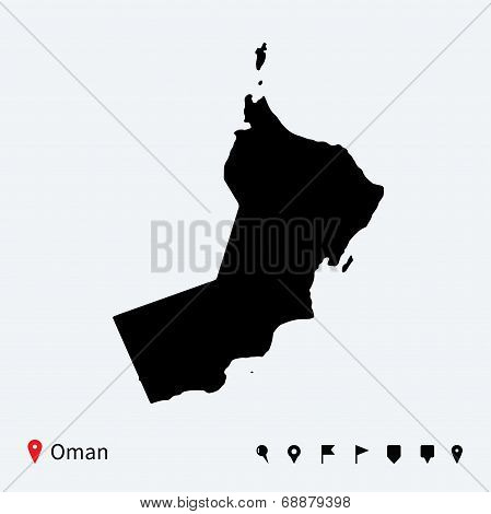 High detailed vector map of Oman with navigation pins.