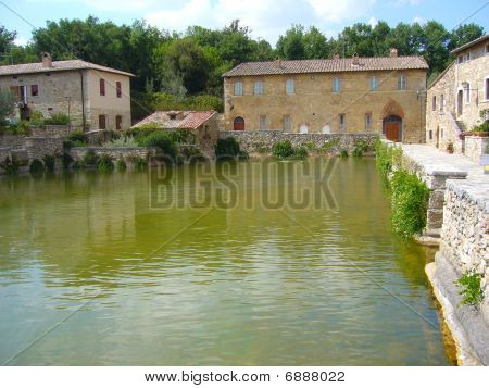 Thermal pool at the medieval village of Bagno Vignoni in Tuscany