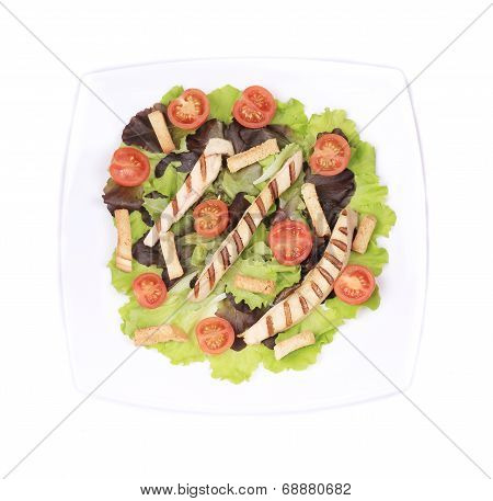 Plate with vegetables for caesar salad.