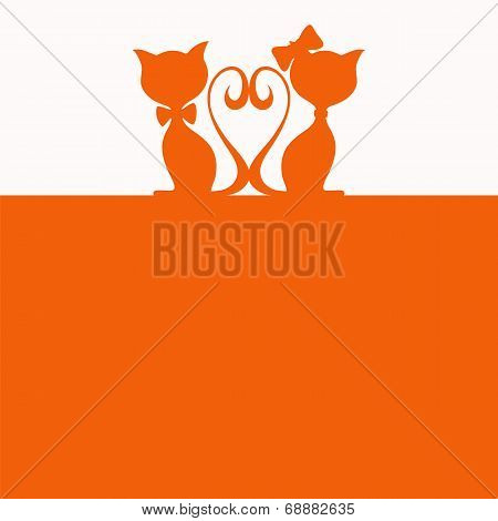 Simple abstract background with two cats