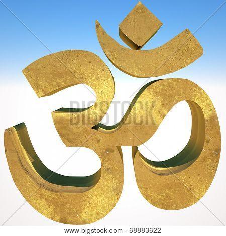 Om symbol on blue sky