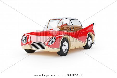 retro futuristic car 1960