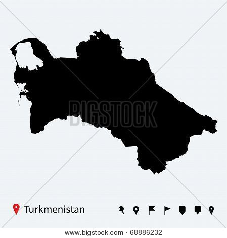 High detailed vector map of Turkmenistan with navigation pins.