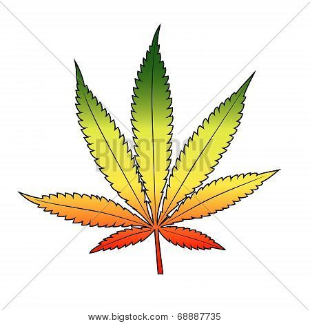 Cannabis leaf with rastafarian flag colors, horizontal.