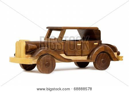 Wooden Vintage Car / Wooden Vintage Toy Car, Isolated on White Background