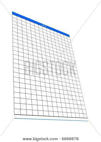 One Blank Notepad Organizer, Empty Spreadsheet, Isolated