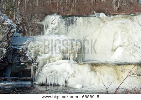 Ice formation around waterfalls