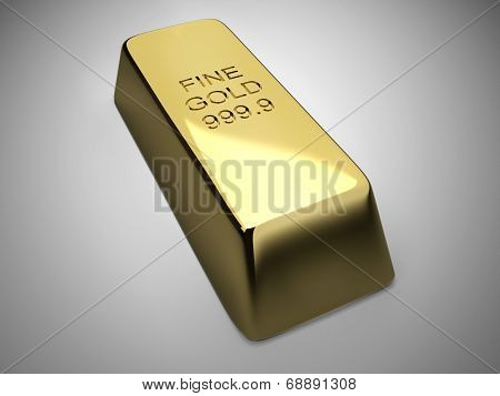 Golden Bar On Gray Background